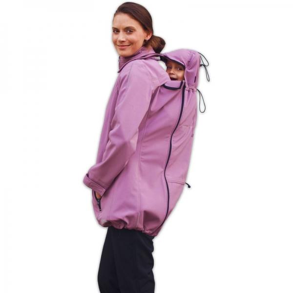 Bunda pre nosiace, tehotné - softshellová - pre nosenie dieťaťa vpredu aj vzadu - ružová