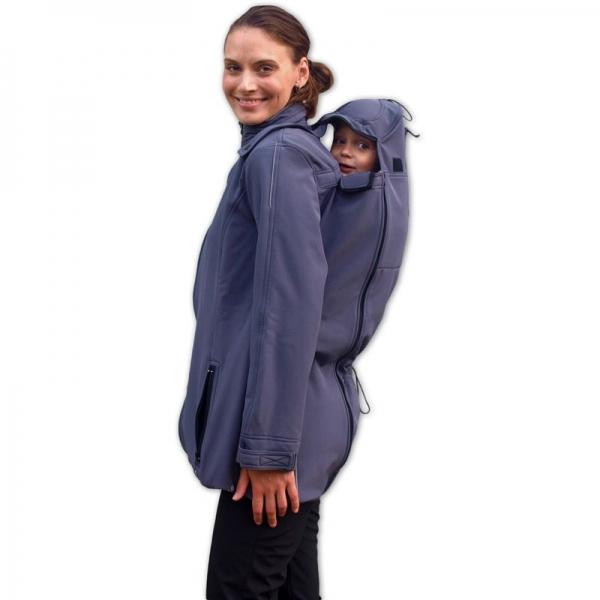 Bunda pre nosiace, tehotné - softshellová - pre nosenie dieťaťa vpredu aj vzadu - antracit