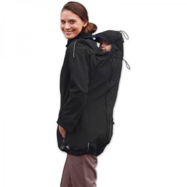 Bunda pre nosiace, tehotné - softshellová - pre nosenie dieťaťa vpredu aj vzadu - čierna