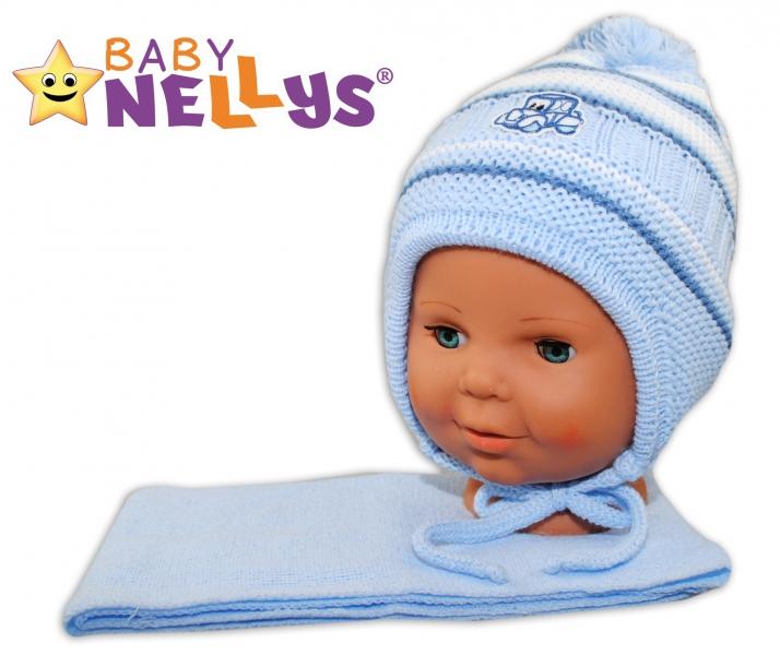BABY NELLYS Zimná čiapočka s šálom - Autíčko - pruhy, sv. modré