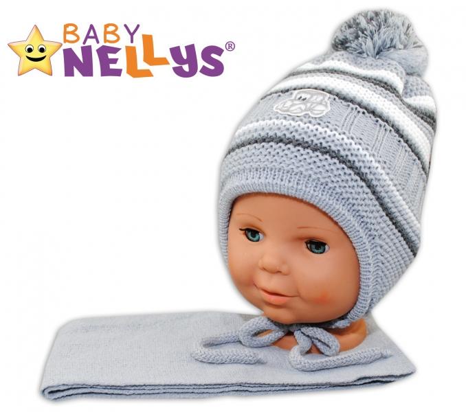 BABY NELLYS Zimná čiapočka s šálom - Autíčko - pruhy, sv. sivé