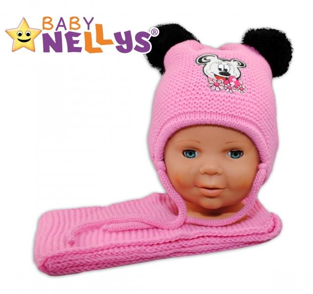 BABY NELLYS Zimná čiapočka s šálom - Minnie - ružová s dvoma brmbolcami