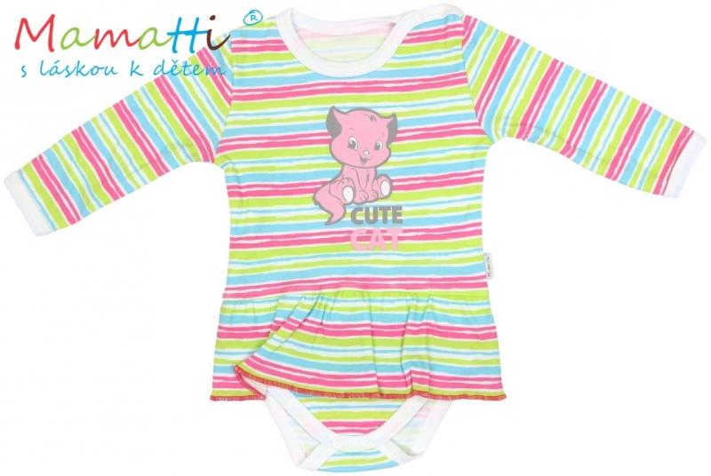 Sukničkobody dlhý rukáv Mamatti - CAT - farebné prúžky-80 (9-12m)