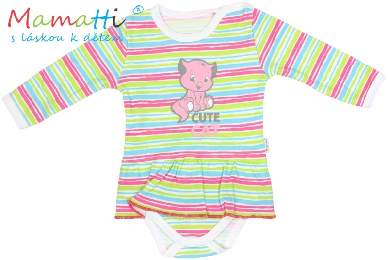 Sukničkobody dlhý rukáv Mamatti - CAT - farebné prúžky-86 (12-18m)
