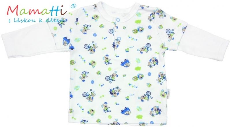 Polo tričko dlhý rukáv Mamatti - DOG - bílé/potisk  pejsek, 80 (9-12m)