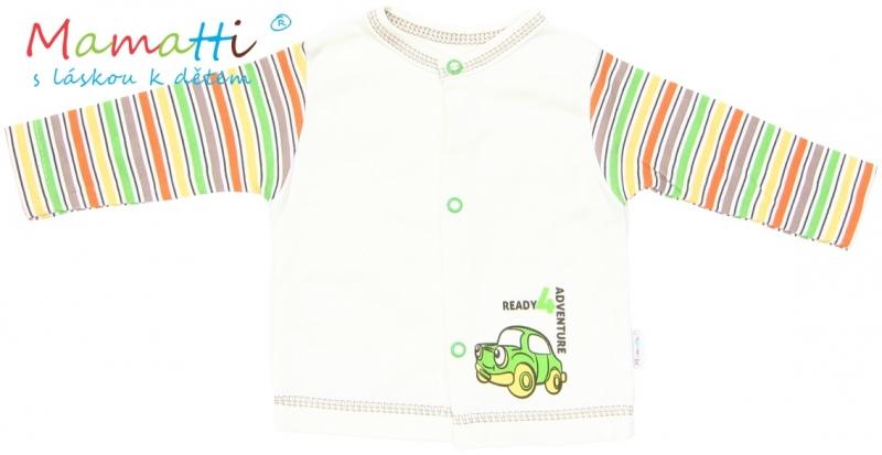 Bavlnená košieľka Mamatti - CAR - krémová / farebné prúžky