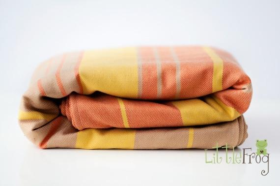 Little FROG Tkaný šatka na nosenie detí s vlnou MERINO - Citrine