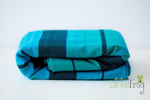 Little FROG Tkaný šatka na nosenie detí s vlnou MERINO - Chrysocolla