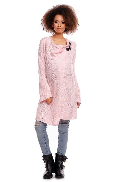 Dlhý sveter HANNE - svetlo ružový