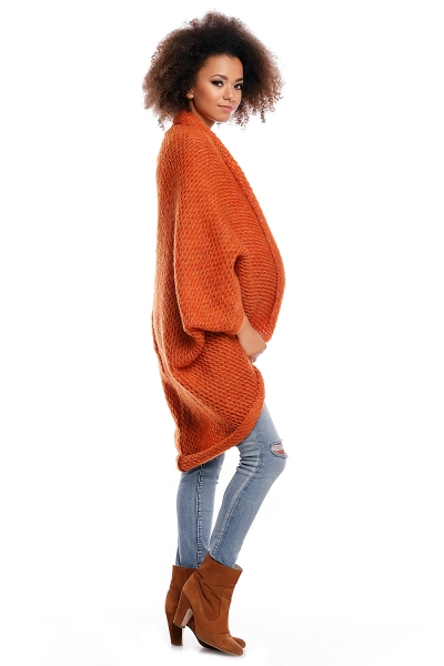 Be MaaMaa Dlhšie svetrík/pončo ELEN - oranžový