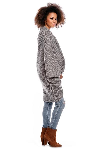 Dlhší svetrík/pončo ELEN - šedý