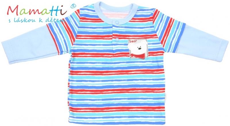 Tričko dlhý rukáv Mamatti - ZEBRA - sv. modré / farebné prúžky-86 (12-18m)