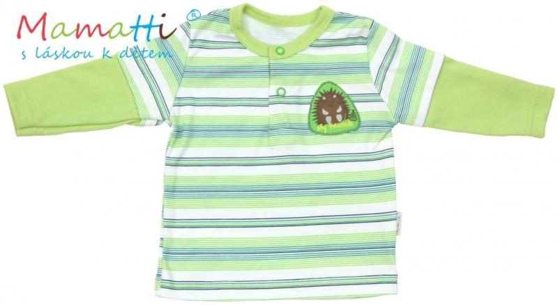 Polo tričko dlhý rukáv Mamatti - FROG - zelené/prúžky, 68 (4-6m)
