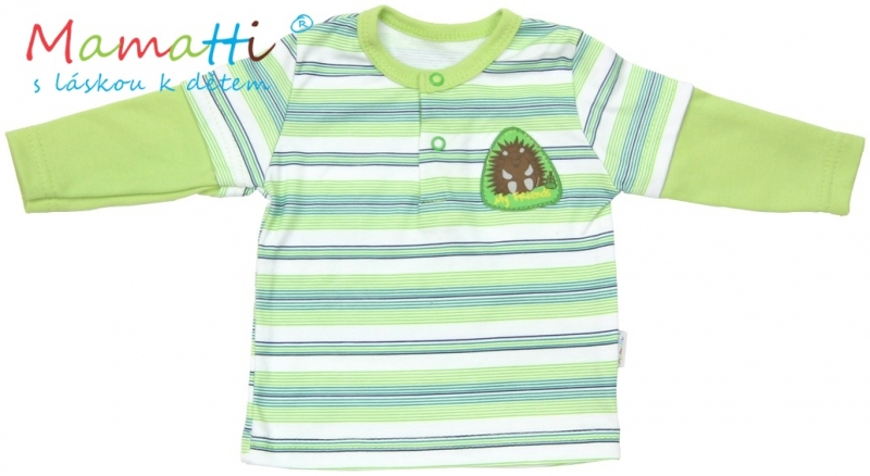 Polo tričko dlhý rukáv Mamatti - FROG - zelené/prúžky-#Velikost koj. oblečení;74 (6-9m)