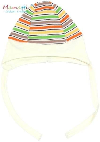 Čiapočka na zaväzovanie Mamatti - CAR - barevné prúžky