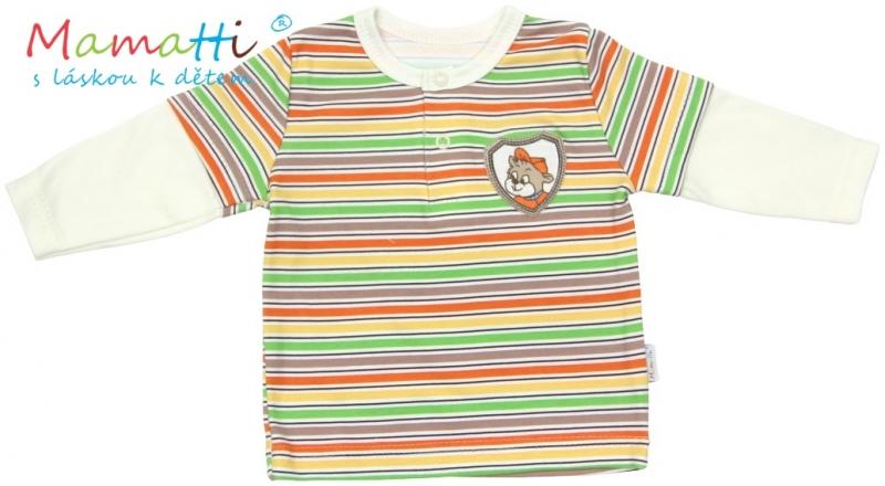 Polo tričko dlhý rukáv Mamatti CAR - krémové/farebné prúžky, 68 (4-6m)