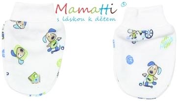 Dojčenské rukavičky Mamatti- DOG - bielé / potlač psík