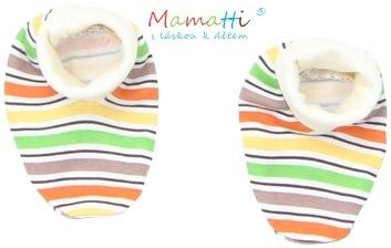 Topánočky / ponožtičky BAVLNA Mamatti - CAR - farebné prúžky