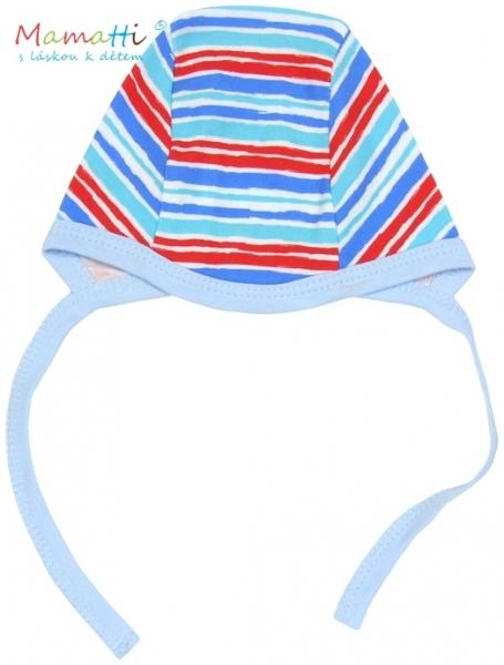 Čiapočka Mamatti - ZEBRA - sv. modrá/barevné proužky
