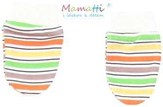 Dojčenské rukavičky Mamatti - CAR - farebné prúžky