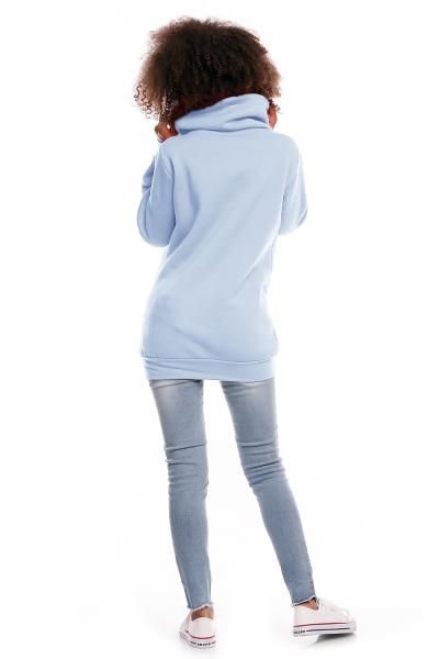 Be MaaMaa Tehotenská mikina s rolákom DORA - svetlo modrá