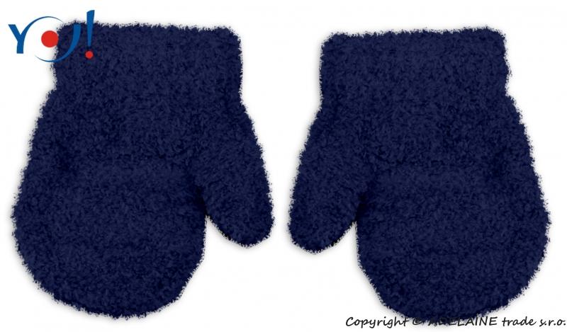 Zimné dojčenskej chlapčenské froté rukavičky YO - granátové, 12cm rukavičky