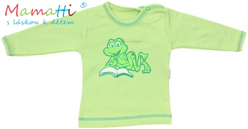 Tričko / košieľka dlhý rukáv Mamatti - FROG - zelené, 80 (9-12m)