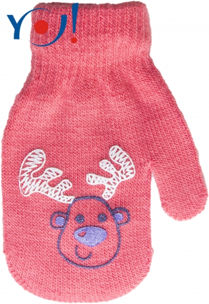 YO !  Dojčenské dievčenské akrylové rukavičky YO - lososově/červená