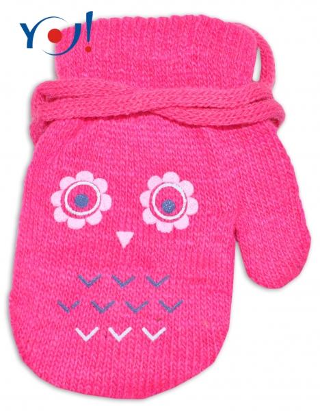 YO !  Dojčenské dievčenské akrylové rukavičky YO - tm. ružové-12cm rukavičky