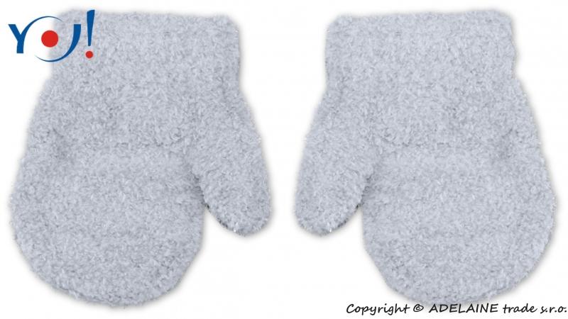 Zimné dojčenske chlapčenské froté rukavičky YO - sv. šedé-13-14cm rukavičky