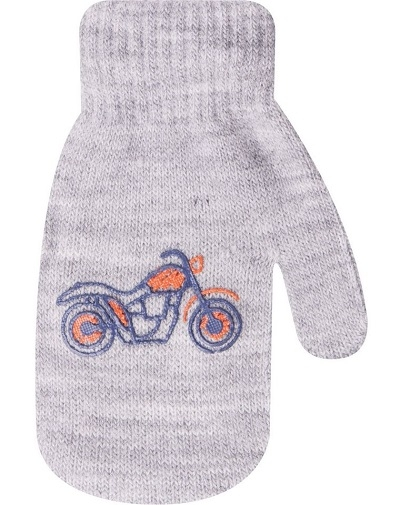 Dojčenské chlapčenské akrylové rukavičky YO - sivé, veľ. 10 cm