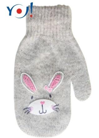 YO !  Dojčenské dievčenské akrylové rukavičky YO - sv. sivé, veľ. 12 cm