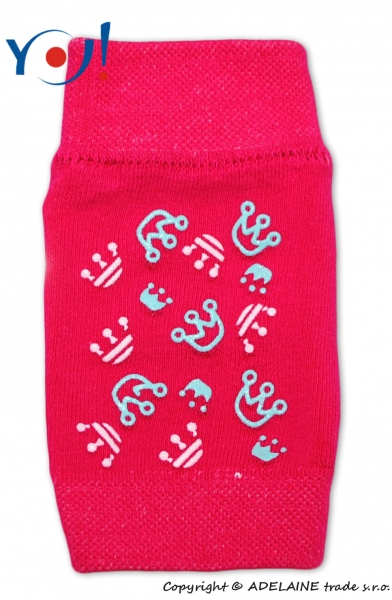 Dievčenské nákolenníky s ABS YO - tm. ružové - korunky