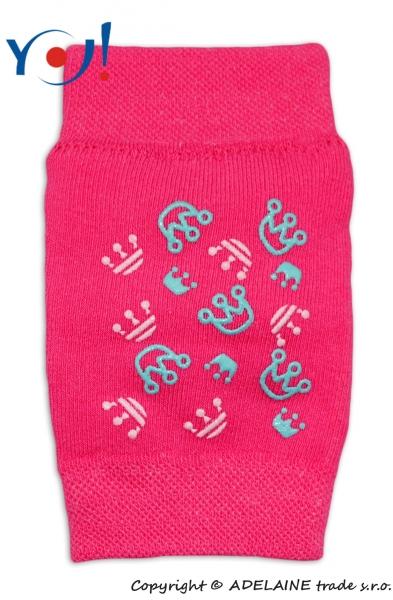 Dievčenské nákolenníky s ABS YO - ružové - korunky