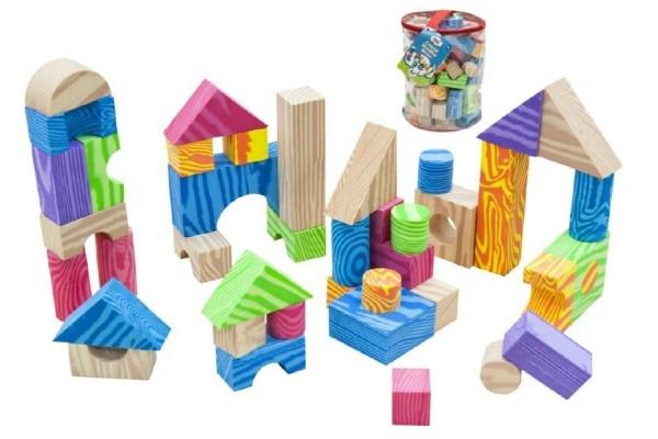 Teddies Kostky pěnové barevné měkké 60ks imitace dřeva v plastové tašce