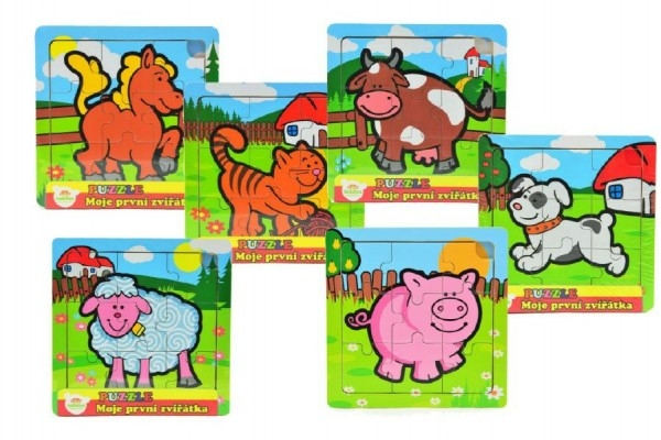 Mini puzzle drevené 9 dielikov Moje prvé zvieratká pre najmenších 15x15x0,8cm 6 druhov