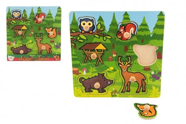 Vkladačka drevená Moje prvé lesné zvieratká 6 ks 22,5x22,5x2,5 cm od 12 mesiacov MPZ