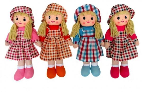 Bábika handrová v klobúku plyš 40cm v sáčku