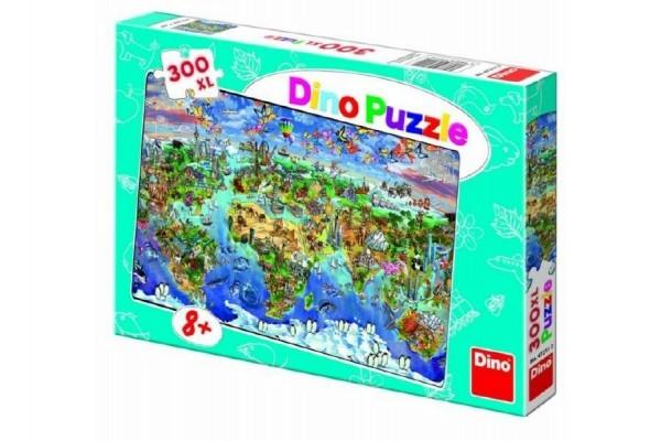 Teddies Puzzle Mapa sveta ilustrovaná 300XL dielikov 47x33cm v krabici 33x23x3,5cm