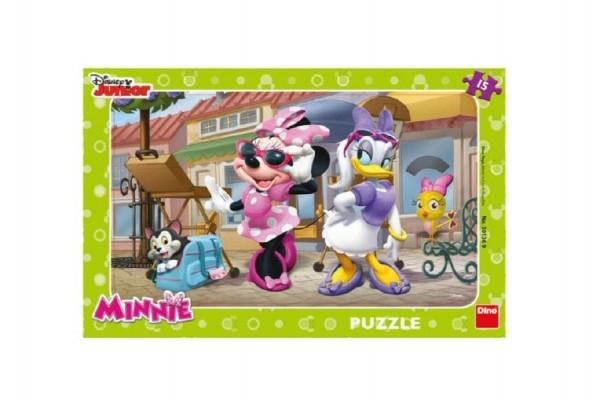 Teddies Puzzle doskové Minnie na Montmartri 15 dielikov 29x19cm