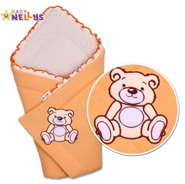 Zavinovačka Baby Nellys - Medvídek Teddy- jersey - marhuľová,lososová