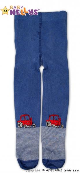 Bavlnené pančucháče Baby Nellys ® - Traktor tm. modré