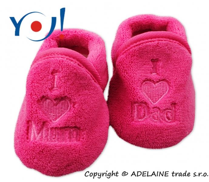 YO ! Topánočky / ponožtičky I LOVE - tmavo růžová-56 (1-2m)