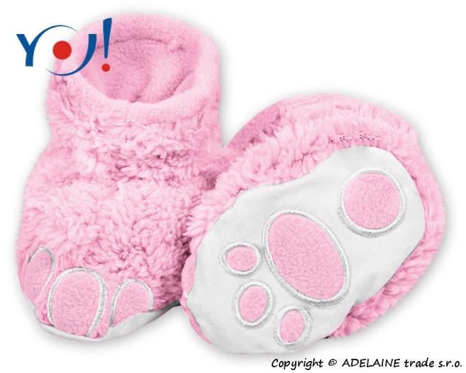 YO ! Topánočky / ponožtičky YO! MACKO - svetlo růžová-56 (1-2m)