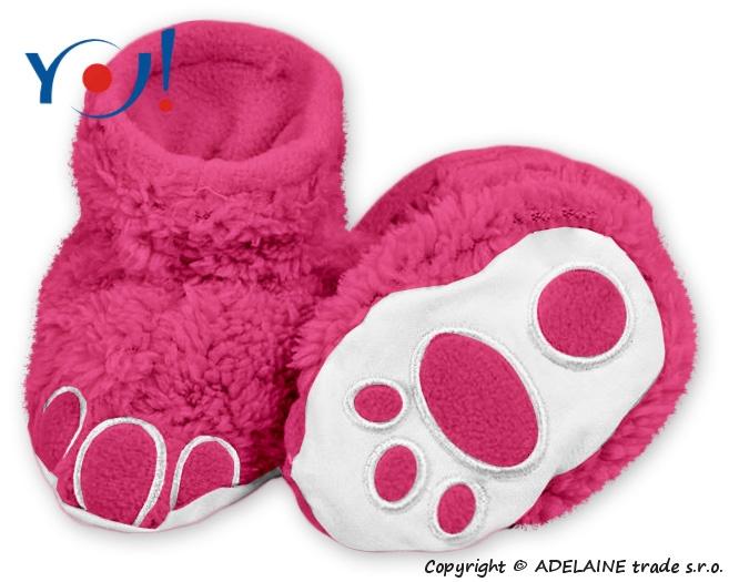YO ! Topánočky / ponožtičky YO! MACKO - malina-56 (1-2m)