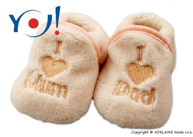 YO ! Topánočky / ponožtičky I LOVE - svetlo béžové-56 (1-2m)