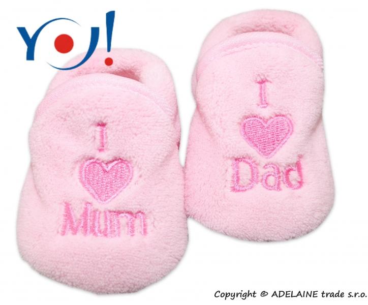 YO ! Topánočky / ponožtičky I LOVE - svetlo ružová-56 (1-2m)