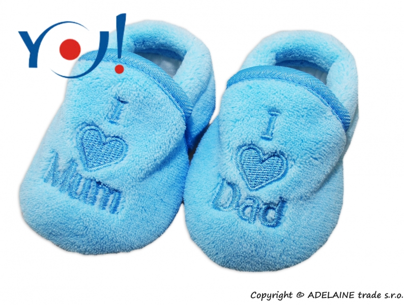 YO ! Topánočky / ponožtičky I LOVE - svetlo modré-56 (1-2m)