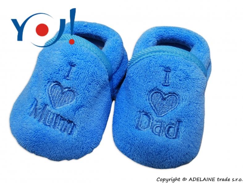 YO ! Topánočky / ponožtičky I LOVE - modré-56 (1-2m)