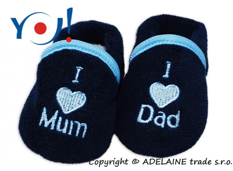 YO ! Topánočky / ponožtičky I LOVE - tmavo modré